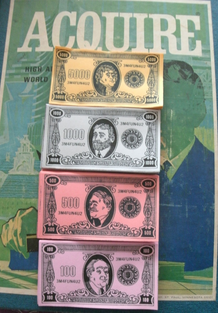 Reproduction Set of Money for ACQUIRE (1968