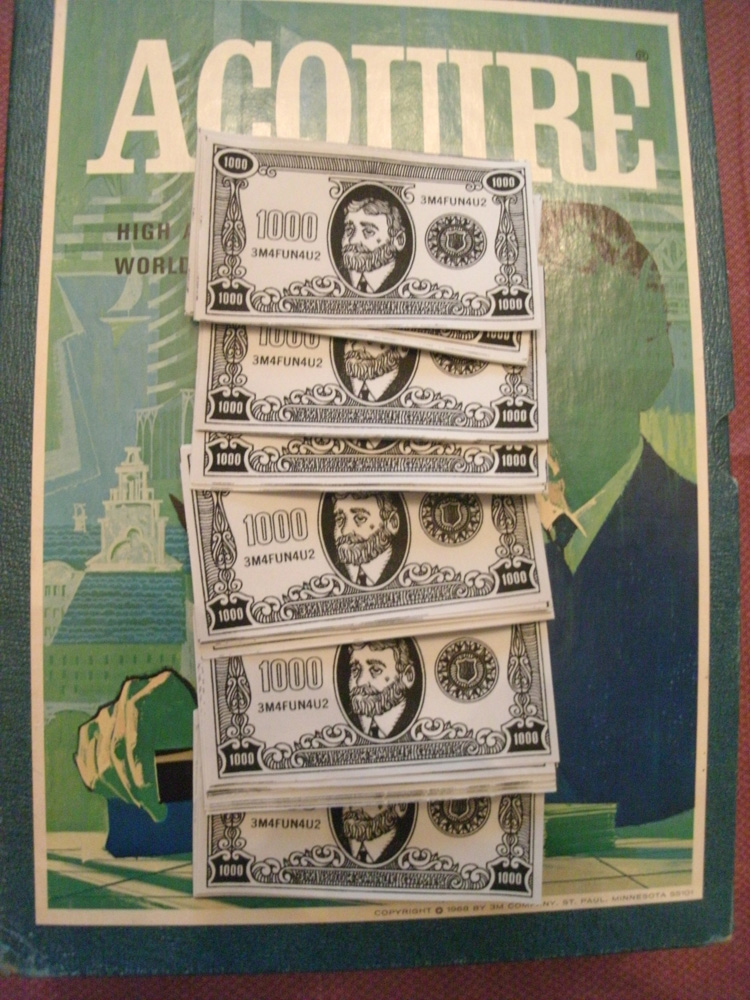 Reproduction Set of $1,000 ACQUIRE Money (1968